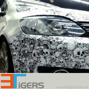White PVC for car wraps digital printing, Pattern-Skeleton